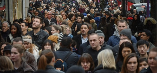 "Shoppers crowd London's Oxford Street (main retail district) on ""Black Friday"" discount day in the lead up to Christmas"